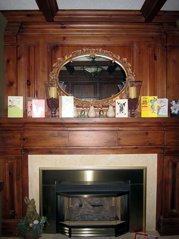Wood & Tile Fireplace Mantle