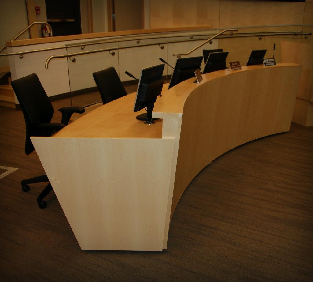 Curved Maple Veneer Desk