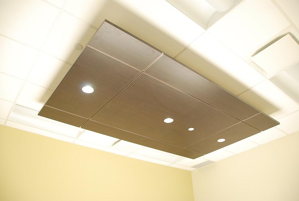 Wood Veneer Ceiling with LED Lighting