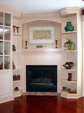 Fireplace Mantle with Wall Unit