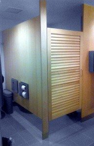 Custom Toilet Partitions with Louvered Doors