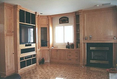 Oak TV and Fireplace Unit